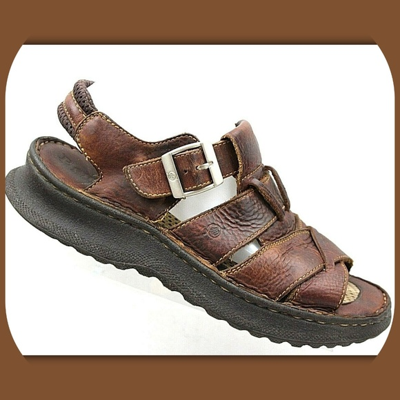 1c2b355350b8 Born Other - BORN Brown Leather Buckle Fisherman Sandals